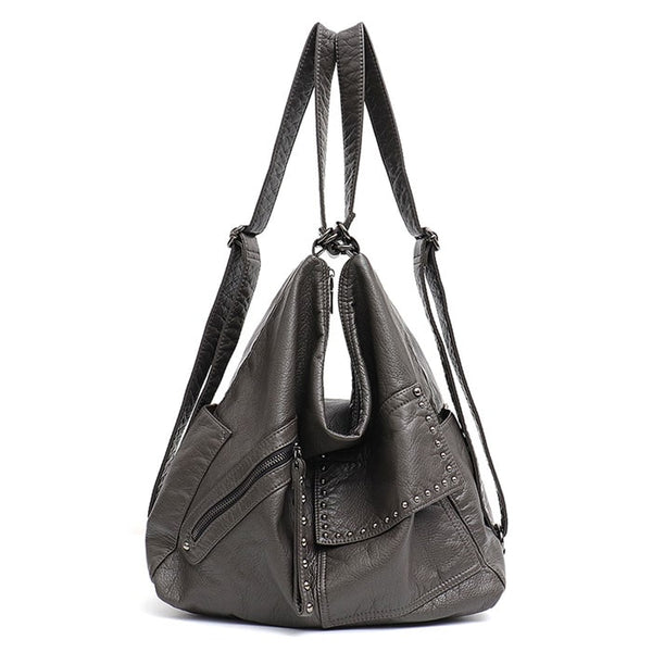 "Vegan ""Mushroom"" Leather Puffball Rockstar Backpack Hobo Bag - The Little Secret Boutique"