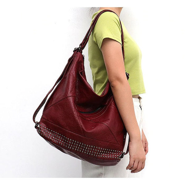 "Vegan ""Mushroom"" Leather Puffball Studded Backpack Hobo Bag - The Little Secret Boutique"