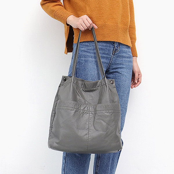 "Vegan ""Mushroom"" Leather Puffball Soft Tote Bag - The Little Secret Boutique"