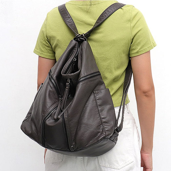 "Vegan ""Mushroom"" Leather Puffball Zipper Backpack Hobo Bag"