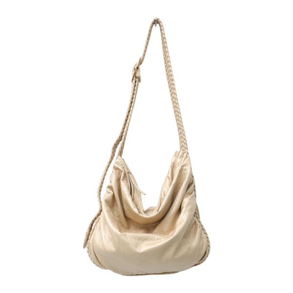 "Vegan ""Mushroom"" Leather Puffball Soft Slouchy Hobo Bag"