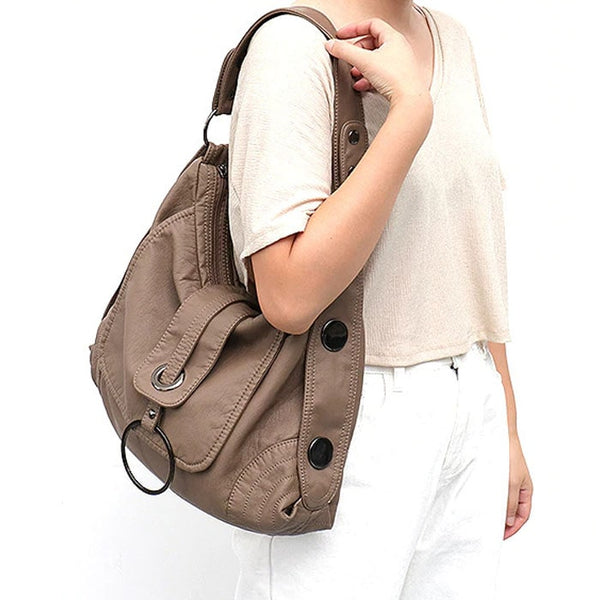 "Vegan ""Mushroom"" Leather Puffball Soft Trapezoid Bag - The Little Secret Boutique"