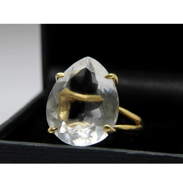 Quartz Crystal Teardrop Ring - The Little Secret Boutique