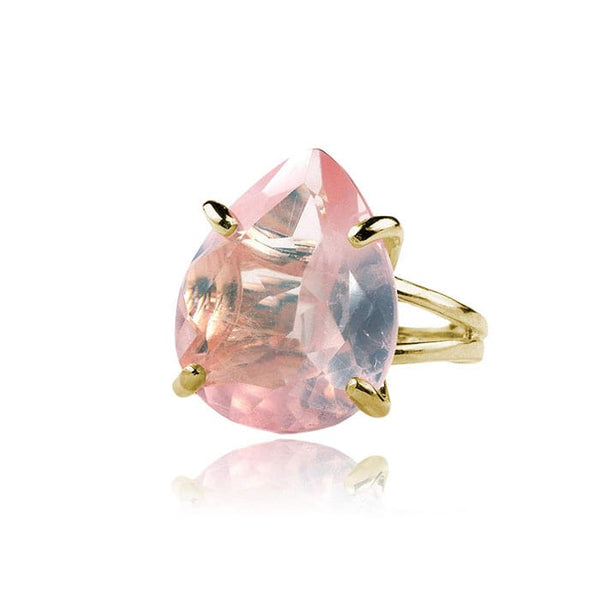Rose Quartz Teardrop Ring - The Little Secret Boutique