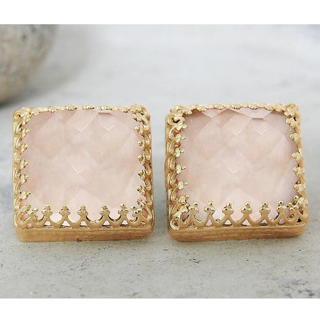 Quartz Crystal Stud Earrings