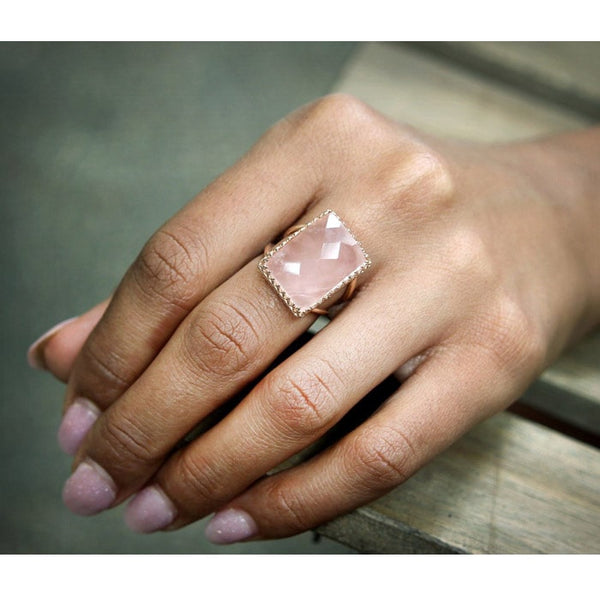 Rose Quartz Statement Ring [Pre-Order] - The Little Secret Boutique