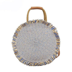 Handmade Bohemian Round Straw Bag - The Little Secret Boutique
