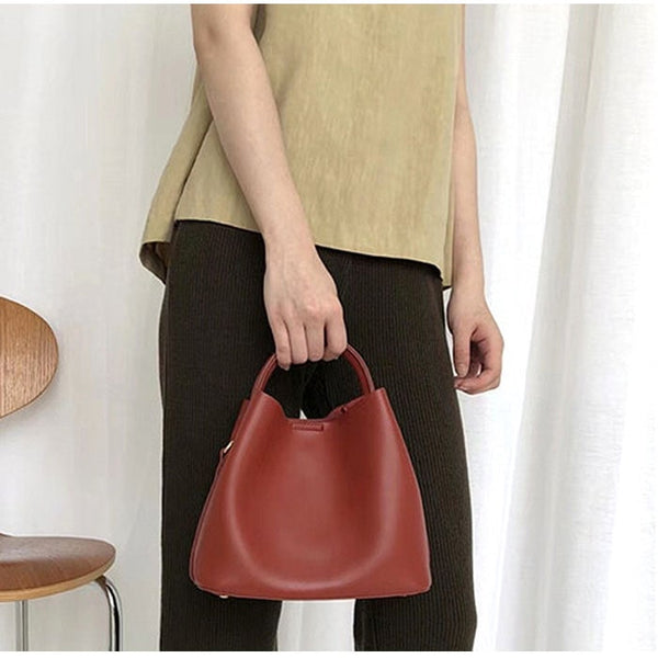 Vegan Leather Small Bucket Tote