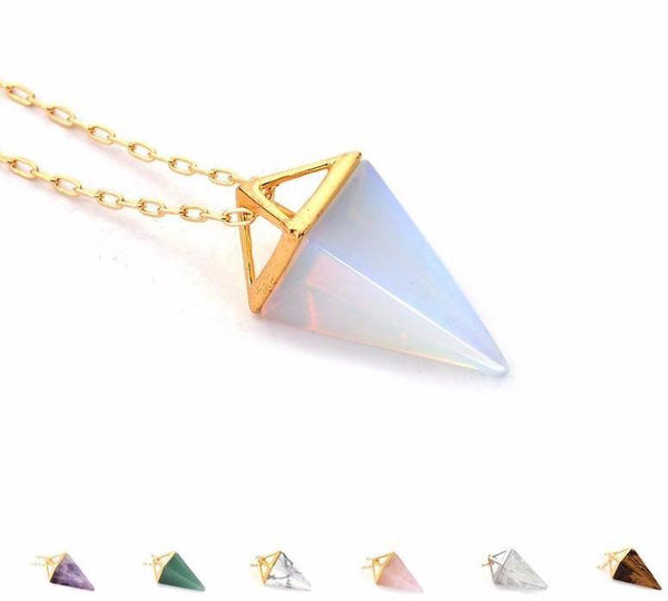 Gold Plated Healing Crystal Pendulum Necklace - The Little Secret Boutique