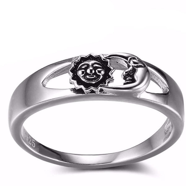Antique Sun And Moon 925 Sterling Silver Ring - The Little Secret Boutique