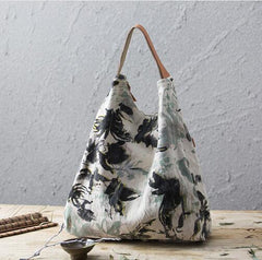 Extra Large Vintage Floral Print Canvas Messenger Bag - The Little Secret Boutique