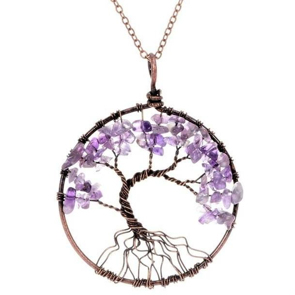 Chakra Beads Tree of Life Wire Wrapped Pendant Necklace – The Little ...