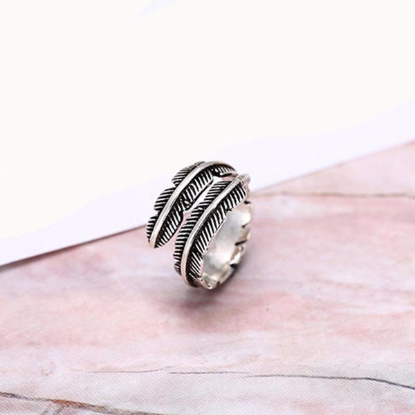 Antique Feather Ring 925 Sterling Silver - The Little Secret Boutique