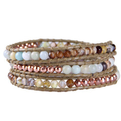 Colorful Stone Crystal Beaded Three Wrap Bracelet - The Little Secret Boutique