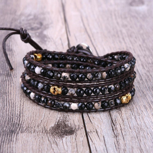 Gold Skull with Black Stone Handmade Three Wrap Charm Bracelet - The Little Secret Boutique