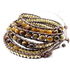 Golden Tiger Eye Bead Four Wrap Bracelet - The Little Secret Boutique