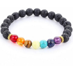 Handmade Black Lava Seven Chakra Healing Balance Beaded Bracelet - The Little Secret Boutique