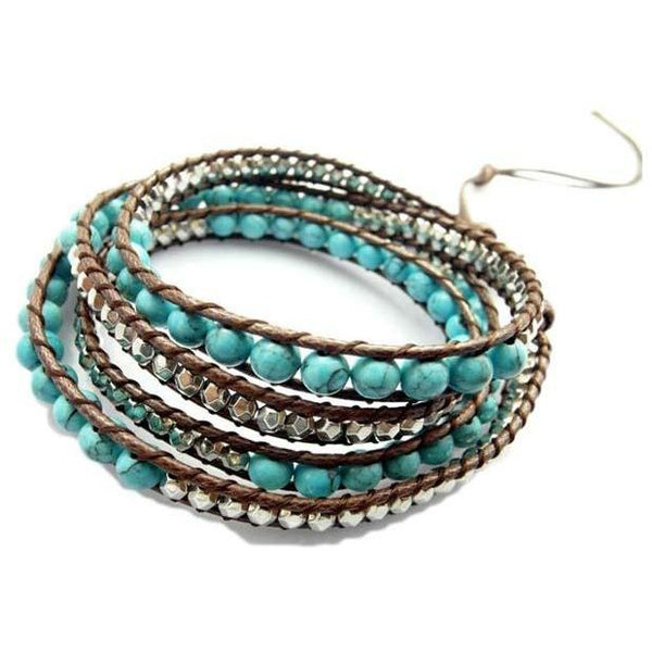 Handmade Blue Howlite Bead Four Wrap Bracelet - The Little Secret Boutique