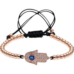 Handmade Hamsa Evil-Eye Micro Pave Charm Braided Macrame Bracelet - The Little Secret Boutique