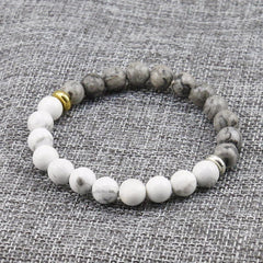 Handmade Natural Stone White Howlite Marble With Grey Jasper Stone Bead Bracelet - The Little Secret Boutique