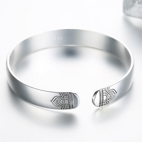 Handmade Thai Silver Plated Lotus Flower Yoga Energy Healing Bracelet - The Little Secret Boutique