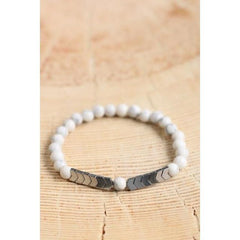 Handmade White Howlite Stone and Silver Arrow Bead Bracelet - The Little Secret Boutique