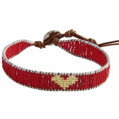 Handmade Wonder Woman Love Red Seed Bead Friendship Bracelet - The Little Secret Boutique