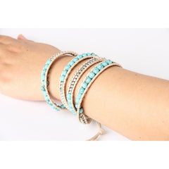 Howlite Four Wrap Blue Weaved Beaded Bracelet - The Little Secret Boutique