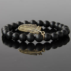 Matte Onyx Natural Stone Bracelet with Leaf Pendent - The Little Secret Boutique