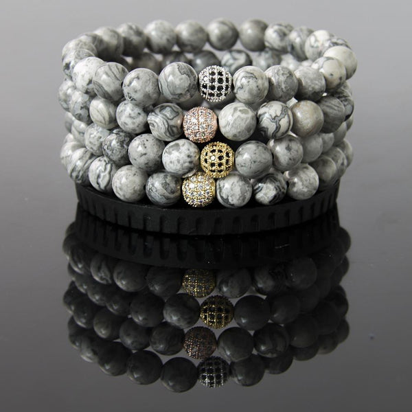 Natural Gray Map Stone Bracelet with Silver  Micro Pave Disco Bead - The Little Secret Boutique