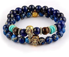 Natural Sea Stone Bead Skull Bracelet - The Little Secret Boutique