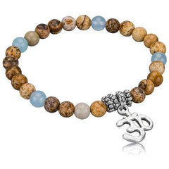Silver Hamsa Tree of Life OM Natural Stone Charm Bracelet - The Little Secret Boutique