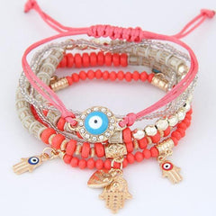 Kabbalah Fatima Hamsa Evil-Eye Heart Charm Multilayer Turkish Beads Bracelet - The Little Secret Boutique