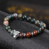 Silver Plated Leopard Charm Bracelet Onyx Natural Stones and Lava With Howlite - The Little Secret Boutique