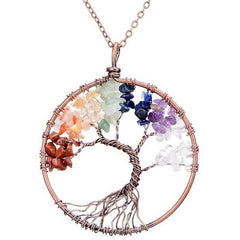 Chakra Beads Tree of Life Wire Wrapped Pendant Necklace - The Little Secret Boutique