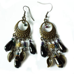 Bohemian Bronze Beaded Leaf Vintage Earrings - The Little Secret Boutique