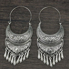 Tribal Antique Style Silver Color Bohemian Vintage Moon Long Tassel Earrings - The Little Secret Boutique
