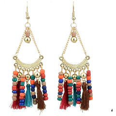 Boho Antique Indian Gold Colorful Cotton Tassel Long Earrings - The Little Secret Boutique
