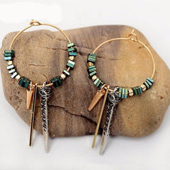 Boho Green Hoop Metal Pendant Earrings - The Little Secret Boutique