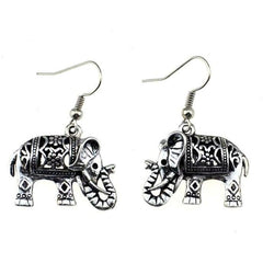Unique Hand Crafted Tibetan Silver Carved Elephant Drop Earrings - The Little Secret Boutique