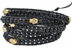 Handmade Black Five Wrap Skull Bracelet - The Little Secret Boutique