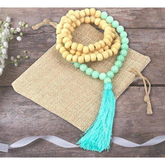 Natural Healing Stone Wooden Beaded Mala Tassel Statement Necklace - The Little Secret Boutique