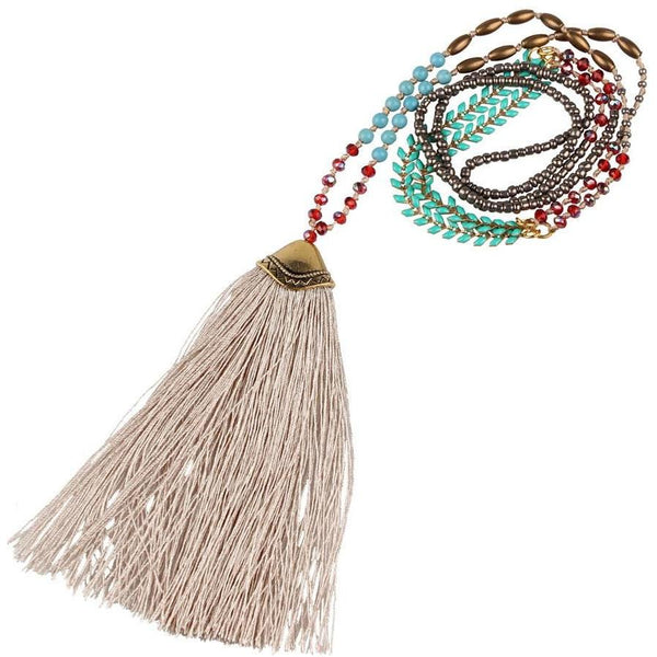 Long Chain Beaded Statement Necklace with Tassel - The Little Secret Boutique