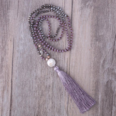 Purple Crystal Beaded Simulated Pearl Stone Tassel Necklace - The Little Secret Boutique