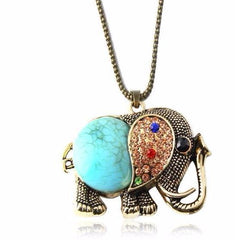 Vintage Boho Long Gemstone Elephant Pendant Necklace - The Little Secret Boutique