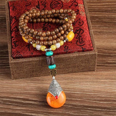 Handmade Nepalese Mala Wood Bead and Natural Stone Long Pendant Statement Necklace - The Little Secret Boutique