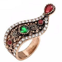Vintage Turkish Gemstone Antique Gold Plated Ring - The Little Secret Boutique