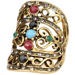 Bohemian Vintage Mosaic Seven Color Index Finger Ring - The Little Secret Boutique