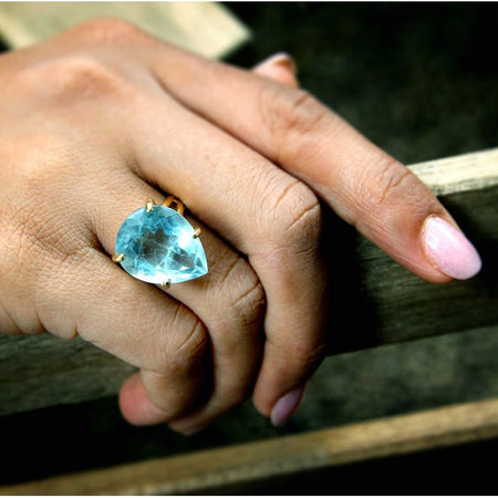 Rainbow Moonstone Teardrop Statement Ring