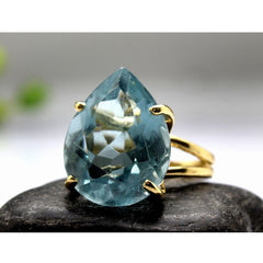 Blue Topaz Teardrop Statement Ring - The Little Secret Boutique